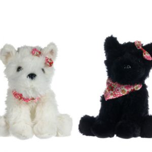 """8"""" DOG WITH SCARF AND RIBBON 2 ASSORT"""