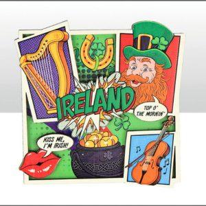 Ireland Pop Art Wood Magnet