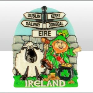 Ireland Signpost/Lep/Sheep Printed Resin Magnet