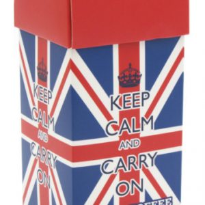 Keep Calm And Carry On Union Jack Carton. Devon Toffee