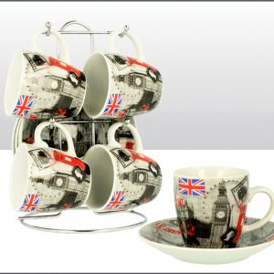 BW Red London Montage Cup & Saucer Set of 4